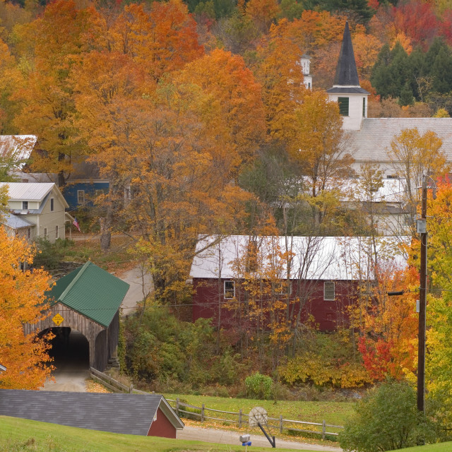 """Village Bridge Waterville, VT."" stock image"