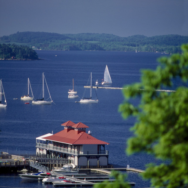 """Boathouse Burlington, VT"" stock image"