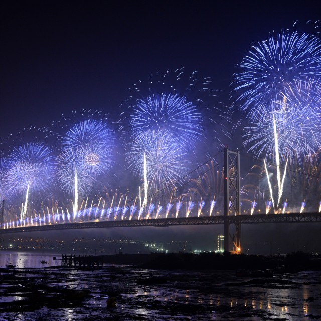 """Forth Road Bridge Fireworks"" stock image"