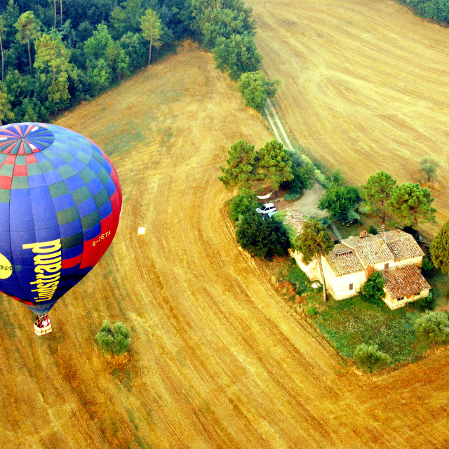 """Hot air balloon in Tuscany"" stock image"
