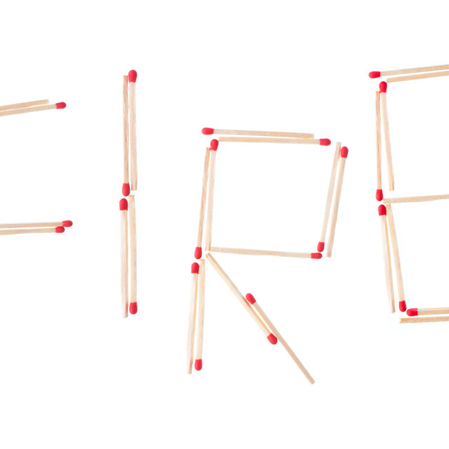 """""""fire text arranged of red unused matches"""" stock image"""