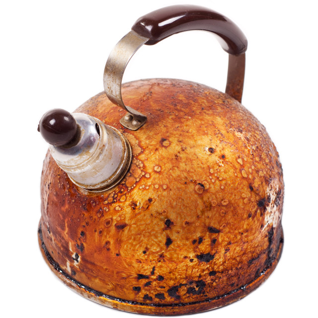 """""""old brown worn kettle and whistle on spout"""" stock image"""