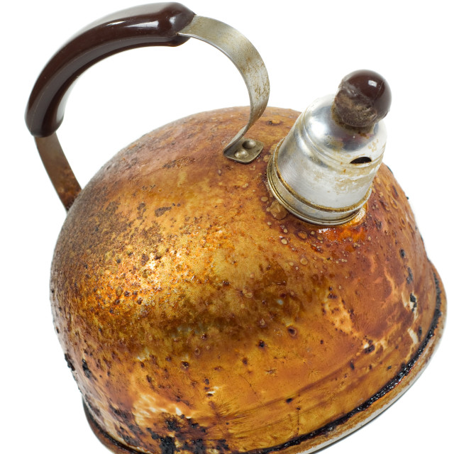 """""""old brown worned kettle"""" stock image"""