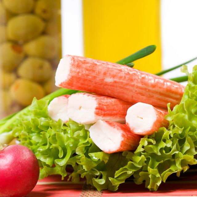 """surimi crab sticks with vegetables"" stock image"