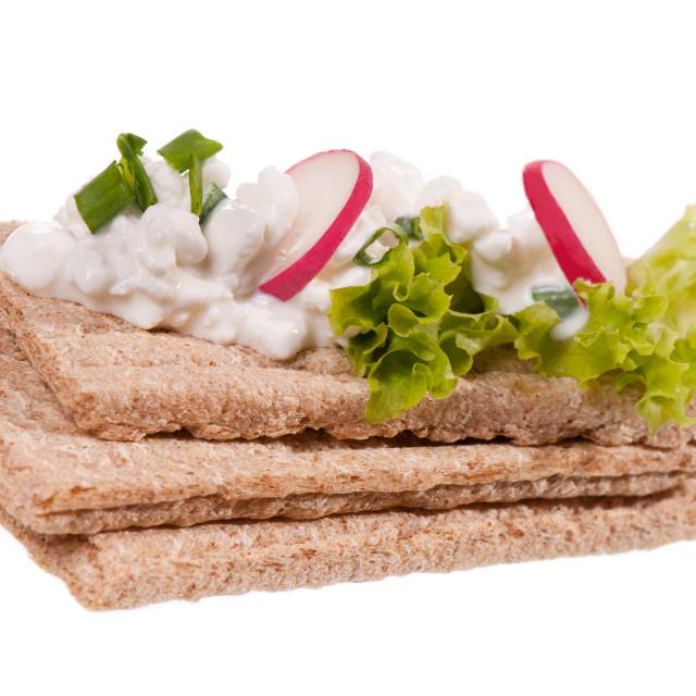 """cereal snack of three dry crisp bread slices"" stock image"