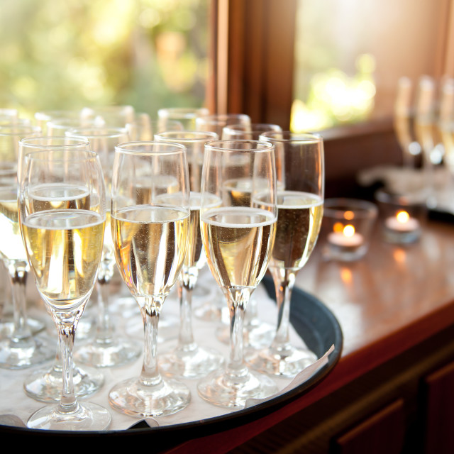 """Wedding banquet champagne glasses"" stock image"