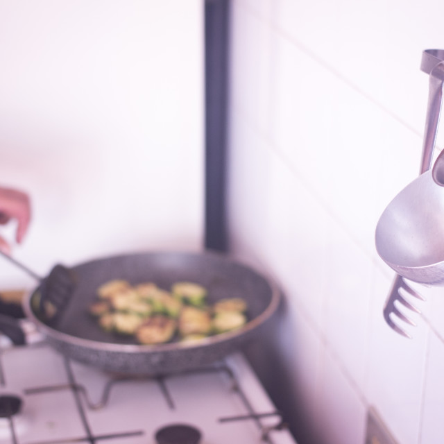 """""""Frying courgettes vegetables herbs saucepan"""" stock image"""