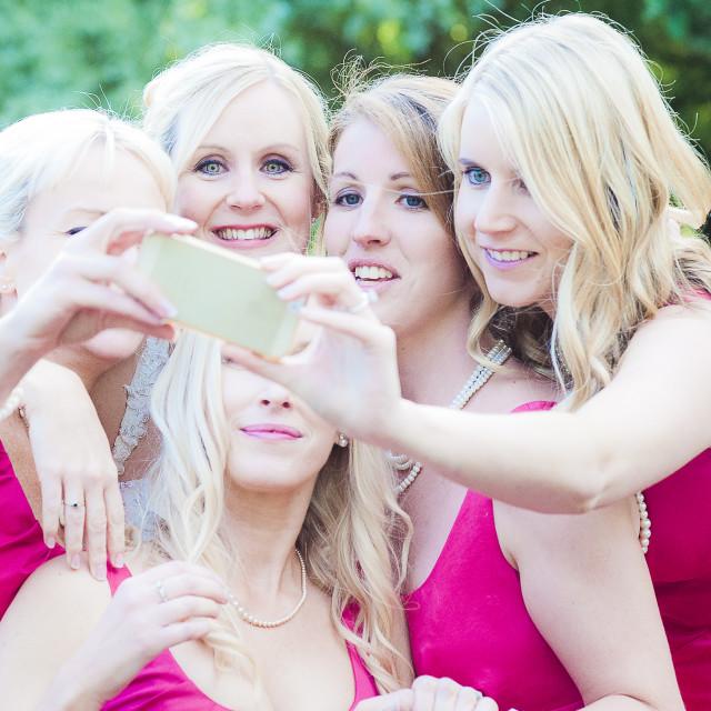 """Bridesmaids selfie"" stock image"
