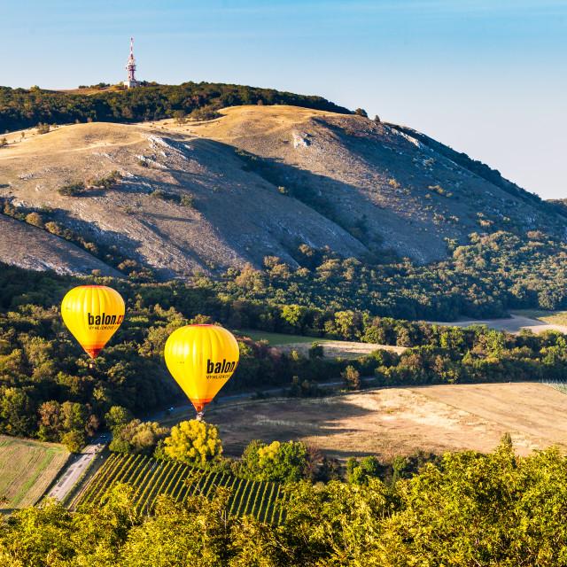"""Balloons over Palava"" stock image"