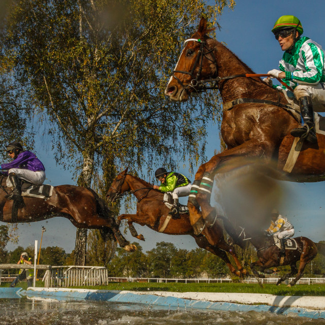 """""""Jump over the big moat"""" stock image"""