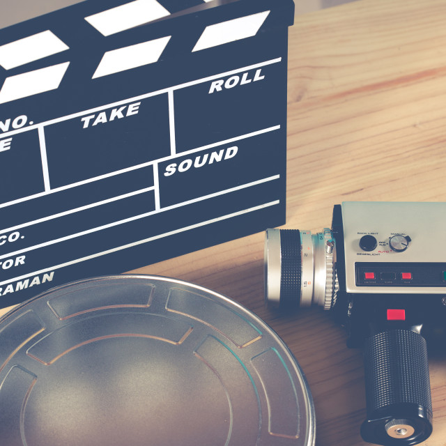 """""""Clapperboard with your camera"""" stock image"""