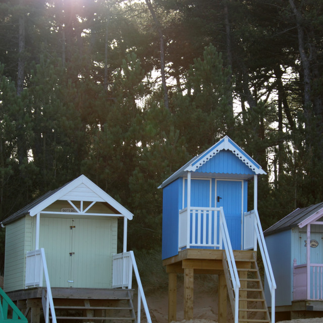 """beachhuts in sunlight Wells next the sea"" stock image"