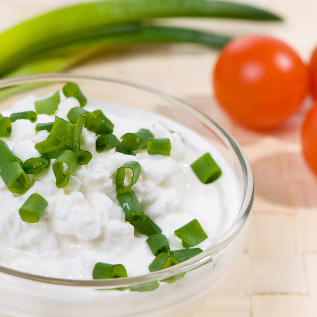 """cottage cheese with chives"" stock image"