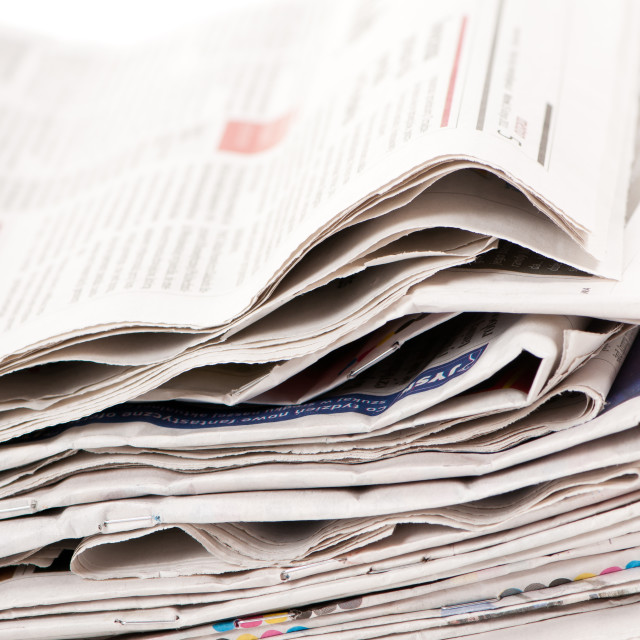 """Stack of wastepaper of newspapers"" stock image"