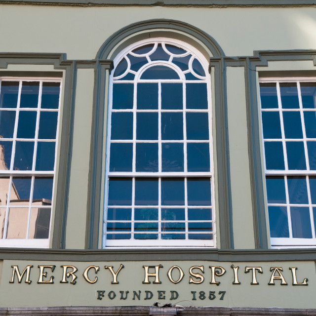 """Old Mercy Hospital Sign"" stock image"
