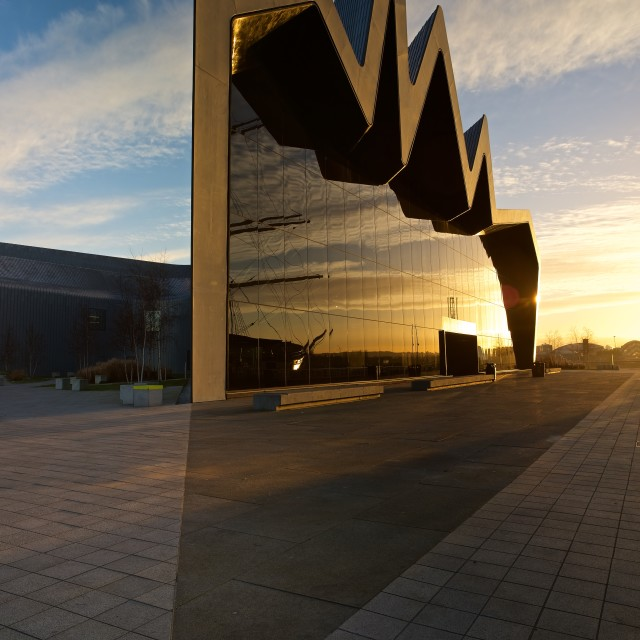 """Sunrise at Glasgow Riverside Museum"" stock image"