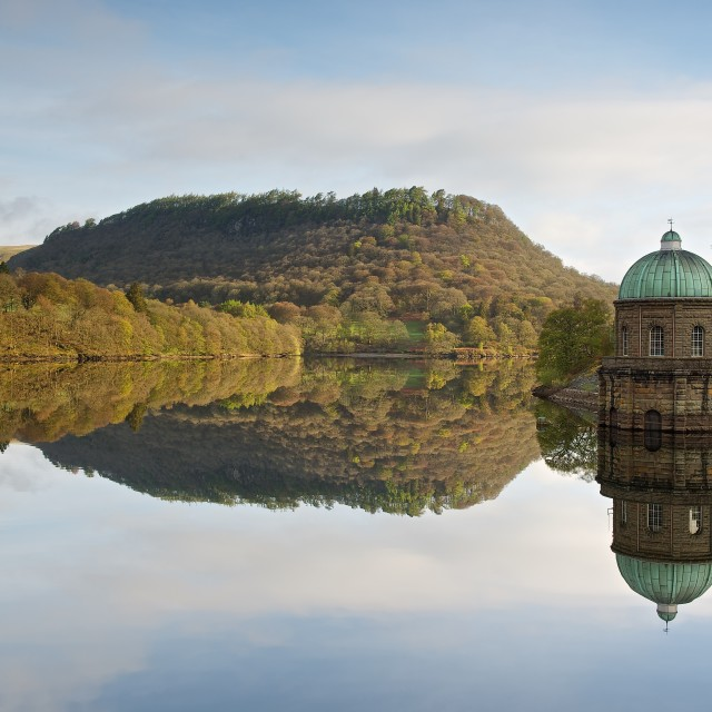 """Garreg Ddu reservoir reflection"" stock image"