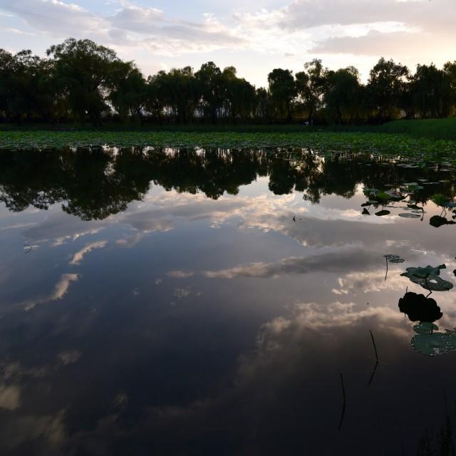 """""""Sky in the lake"""" stock image"""