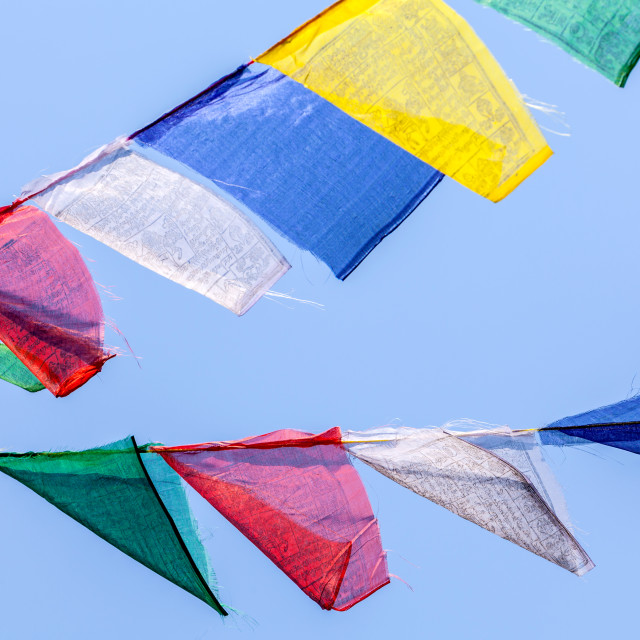"""Buddhist prayer flags the holy traditional flag in Bhutan"" stock image"