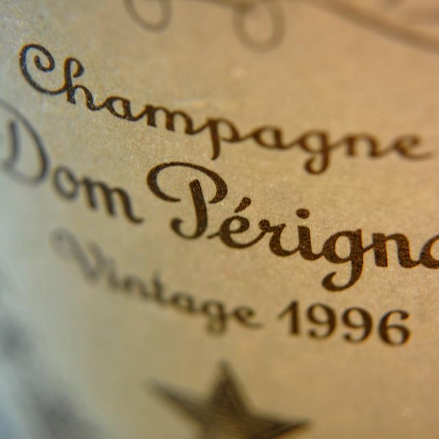 """""""Dom Perignon Champagne label 1996"""" stock image"""