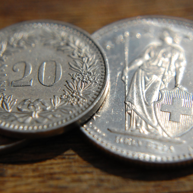 """""""Swiss Franc coin 2"""" stock image"""