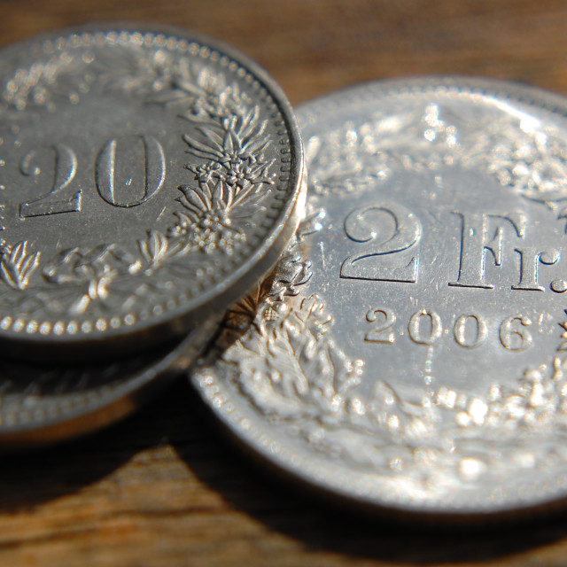 """""""Swiss Franc coin 1"""" stock image"""