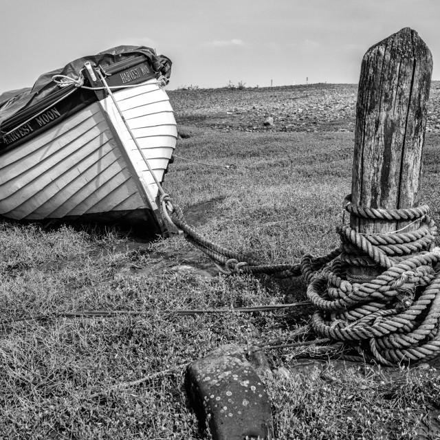 """Boat at Porlock Weir."" stock image"