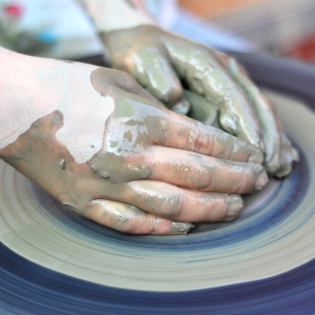 """hands of a potter"" stock image"