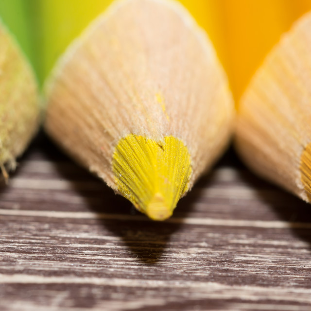 """Colorful Pencils On Wooden Background"" stock image"