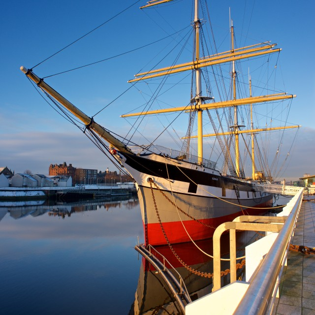 """The Tall ship at Glasgow Riverside Museum"" stock image"