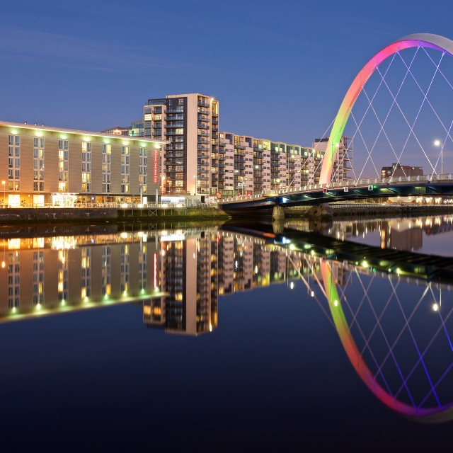 """Glasgow Riverside flats"" stock image"