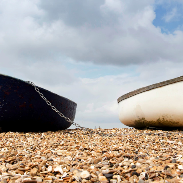 """""""Row boats on the foreshore"""" stock image"""