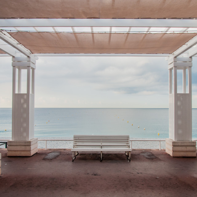 """Empty Seaside Bench in Nice"" stock image"