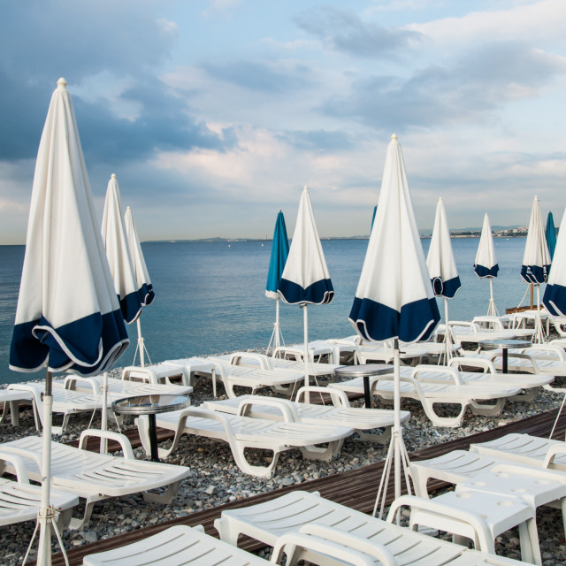 """""""Parasols and sunbeds 2"""" stock image"""