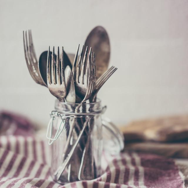 """""""Rustic dinnerware"""" stock image"""