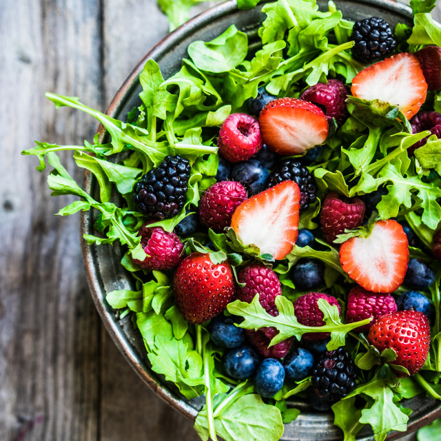 """""""Green salad with arugula and berries"""" stock image"""