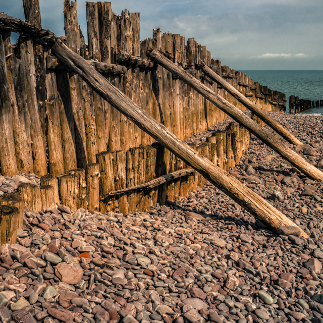 """Groynes at Porlock Weir"" stock image"