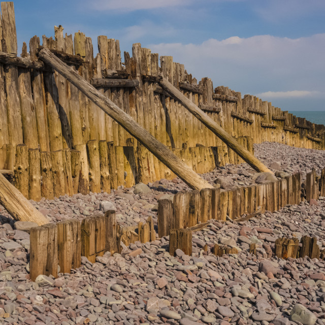 """Porlock Weir sea defence panorama."" stock image"