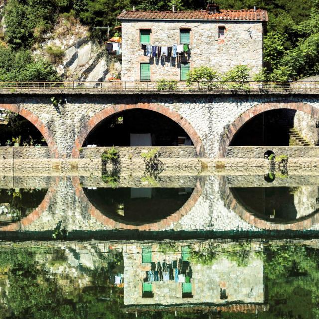 """""""Medieval Ponte della Maddalena across the Serchio"""" stock image"""