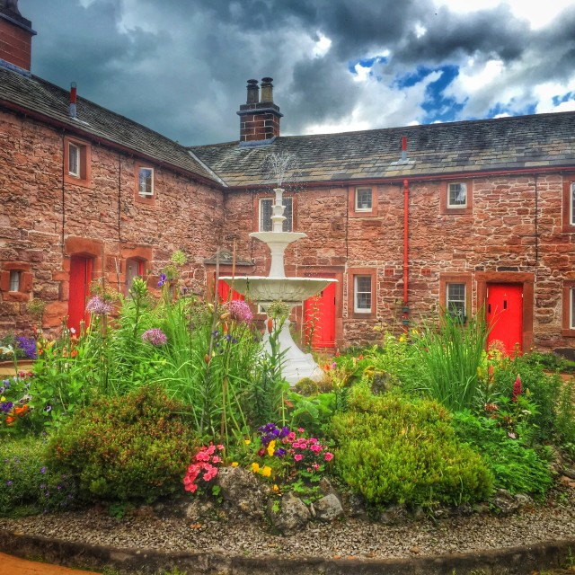 """""""Lady Anne's Almshouses, Appleby"""" stock image"""
