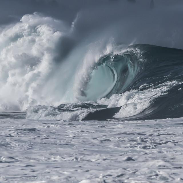 """""""Waimea Bay wave"""" stock image"""