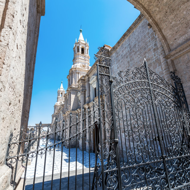 """""""Arequipa Cathedral and Gate"""" stock image"""