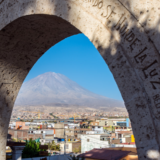 """Arch and El Misti Volcano"" stock image"