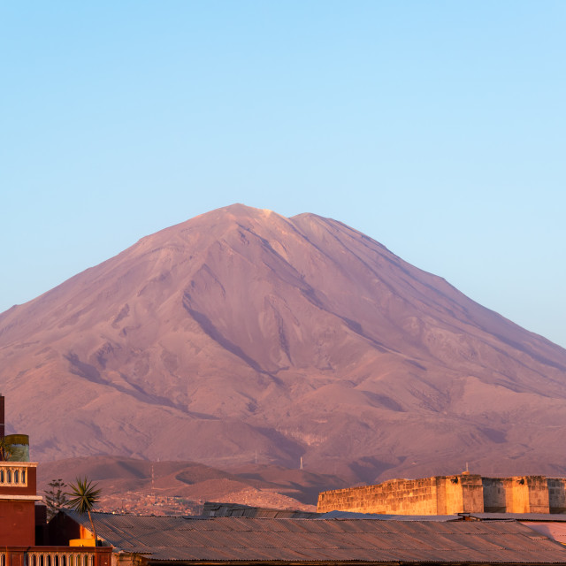 """El Misti Volcano Golden Hour"" stock image"