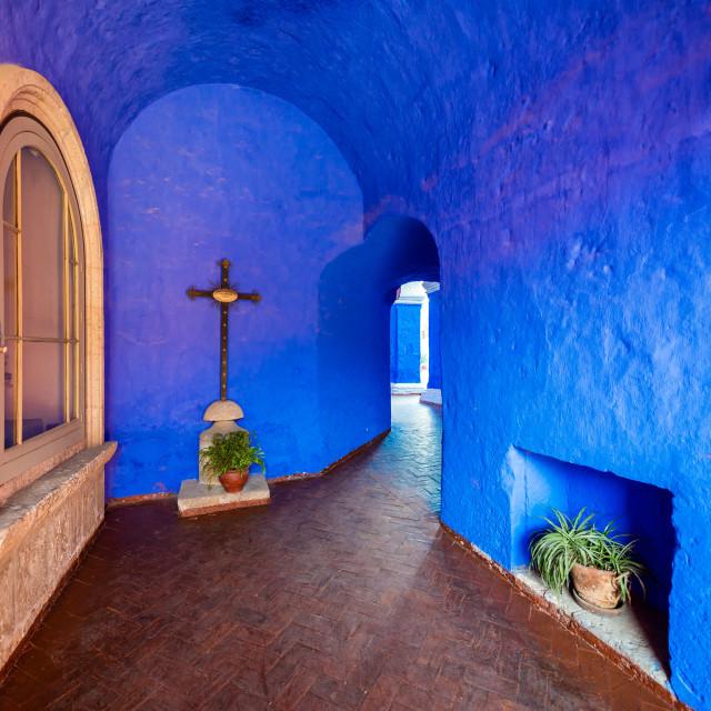 """Blue Monastery Interior"" stock image"