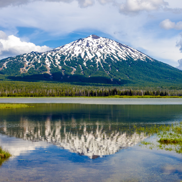 """Mount Bachelor and Reflection"" stock image"