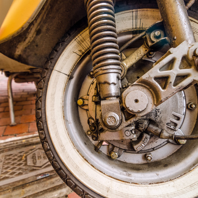 """""""Old Scooter Wheel"""" stock image"""