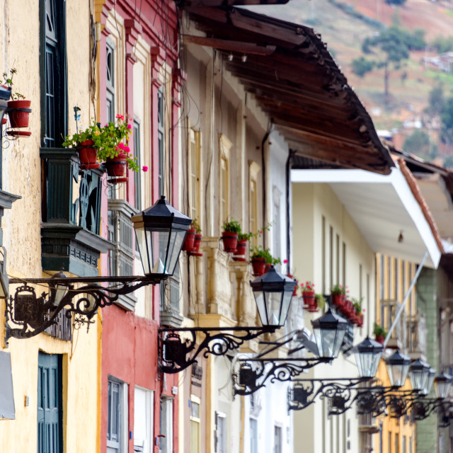 """Streetlights in Cajamarca, Peru"" stock image"