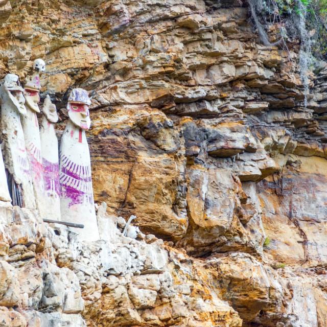 """Sarcophagi near Chachapoyas, Peru"" stock image"