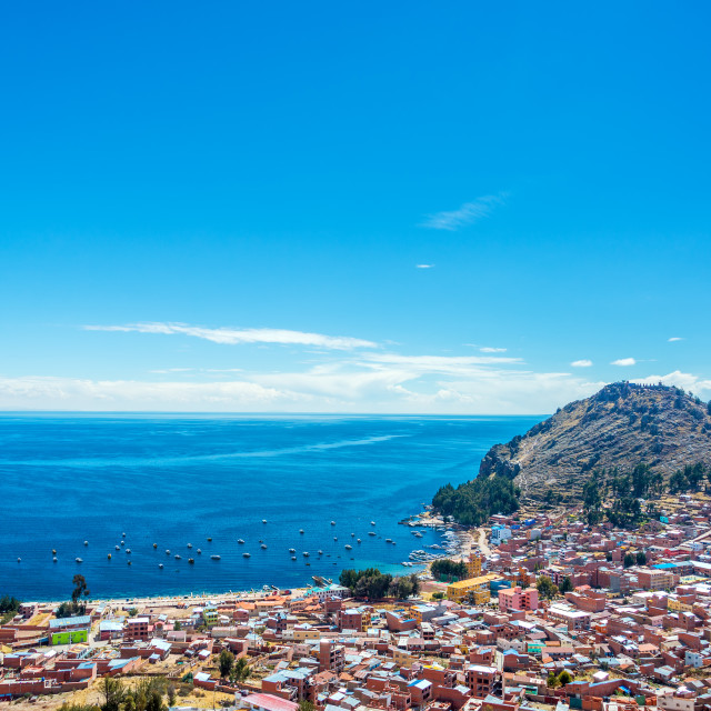 """Lake Titicaca and Copacabana, Bolivia"" stock image"